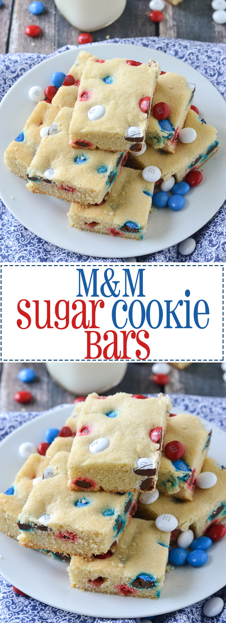 M&M Sugar Cookie Bars | www.motherthyme.com