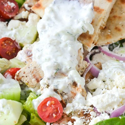 Chicken Gyro Salad with Creamy Tzatziki Dressing
