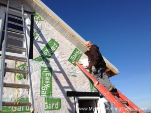 Installing soffit and fascia on our small cabin
