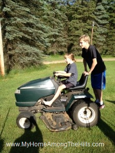 Kids on the garden tractor