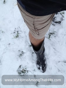 Shorts in the snow