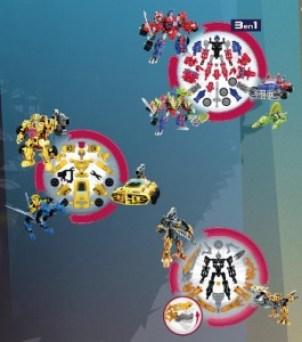 Jouet hasbro Transformers-Construct-Bots-Optimus-Prime-vs-Megatron-3-en-1