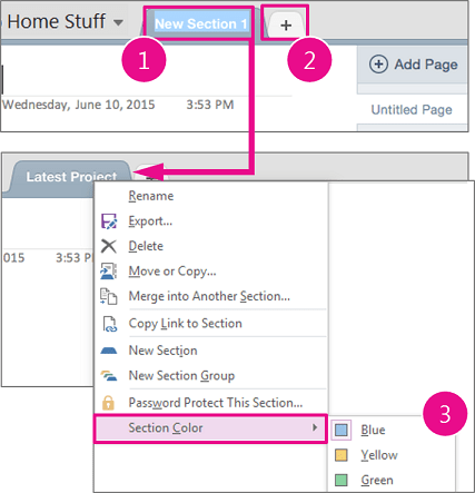 Creation section in OneNote Office 365 1
