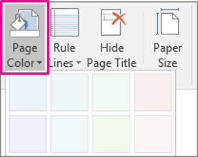 Changing color page OneNote Office 365 1