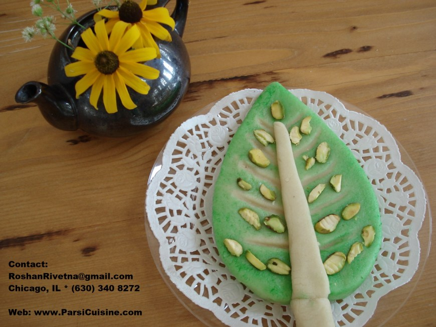 "Custom Marzipan Shapes: This picture shows a ""Cypress tree"" requested by a Iranian customer."