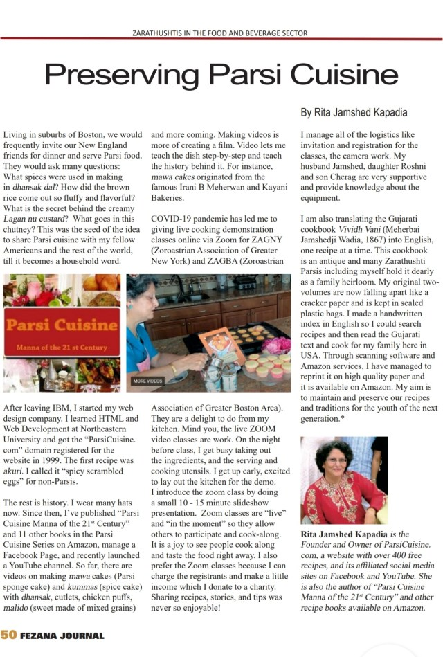 """Fezana Journal's Winter 2020 issue, """"Contribution of Zarathushtis to the Food and Beverage Sector""""   We look forward to working with you in future.  Best,  Dolly Dastoor, Editor in Chief, Fezana Journal  Farishta Dinshaw, Guest Editor, Winter 2020"""