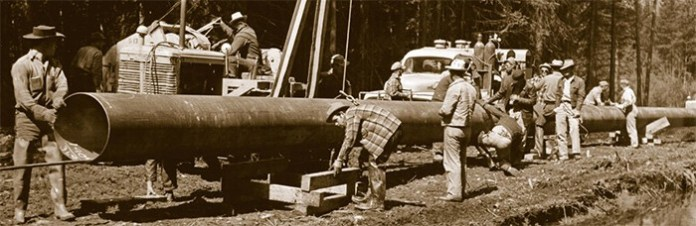 Trans Mountain construction men and pipeline 1953