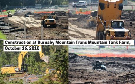 Burnaby Trans Mountain pipeline related tank farm construction Oct 2018