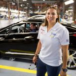 First Cadillac ELR PHEV off the line woman