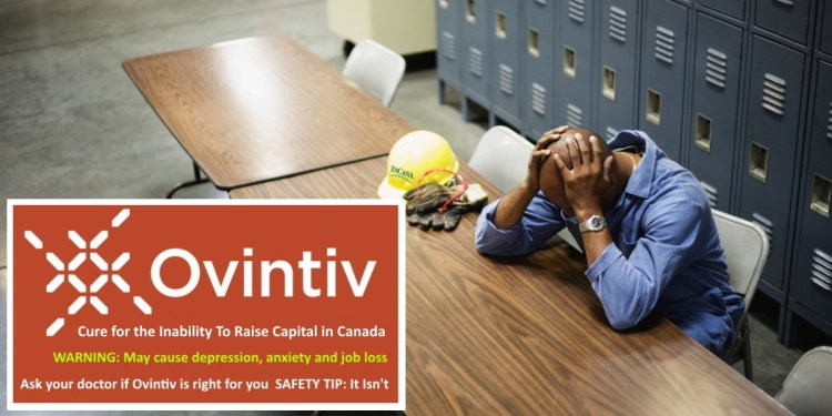 Encana Ovintiv Cure For Inability To Raise Capital In Canada - oil worker with head in hands