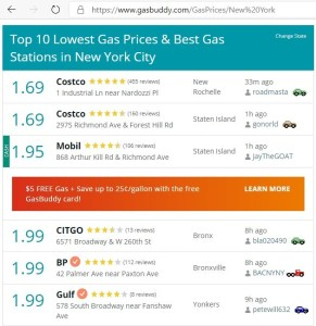 retail gas price in New York City March 31 2020