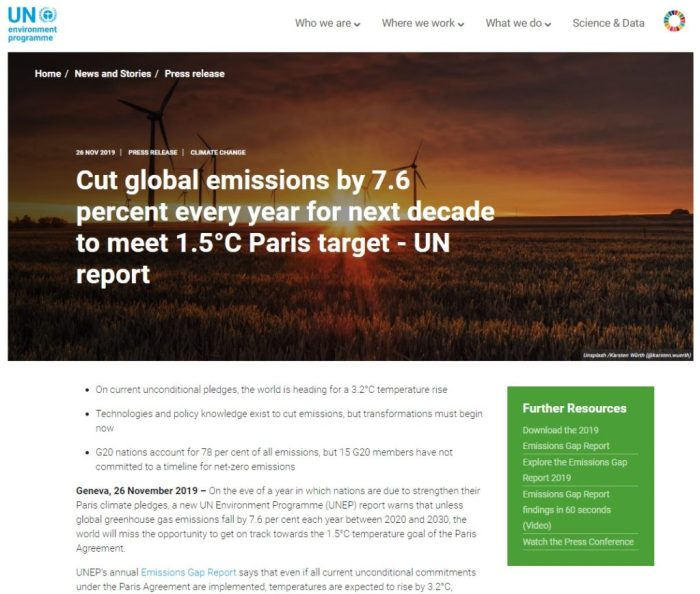 un climate change report november 2019 7 6 percent decline in co2 each year for 10 years