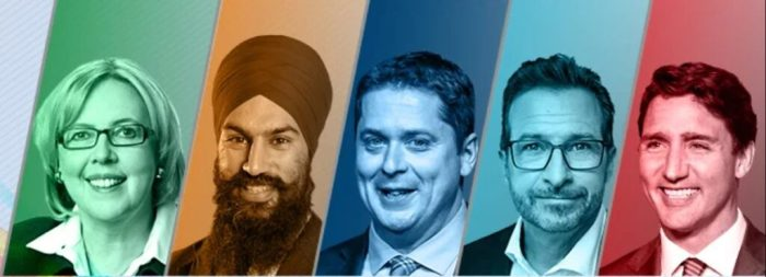 canadian federal leaders 2019 may sing scheer bloc trudeay politicians
