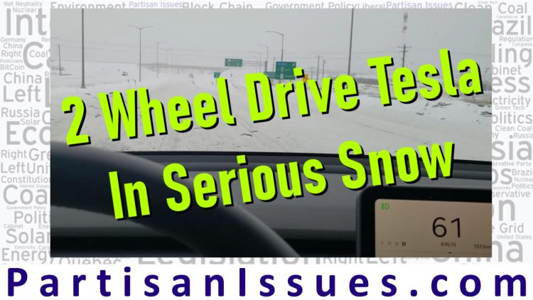two wheel drive telsa standard range plus in serious snow