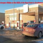 telsa charger hidden in strathmore alberta behind royal bank