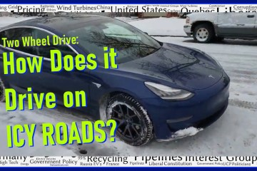 Tesla Model 3 SR+ Rear Wheel Drive on Icy Roads 2 wheel drive