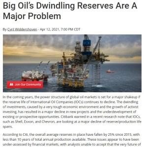 big oils dwindling reserves