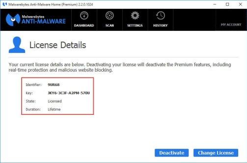 Malwarebytes Anti-Malware lifetime license