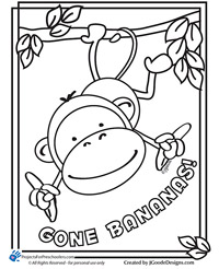 Monkey coloring page Projects for Preschoolers
