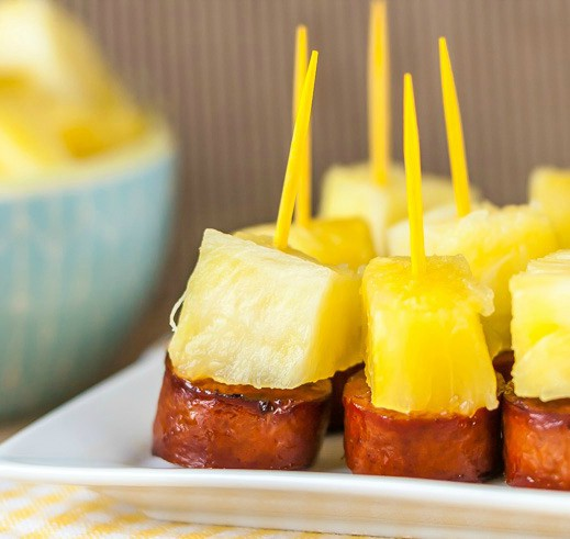 Sausage and Pineapple Party Bites by Noshtastic