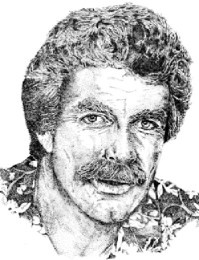 Thomas Magnum, PI (stipple; pen and ink illustration)