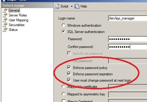 XenApp-Service-Account-3 SQL User Service Account - Change Password at 1st Logon