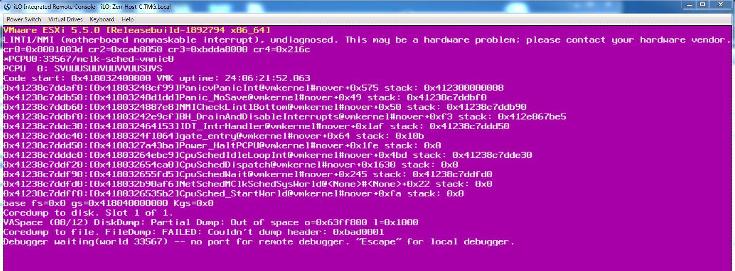 HP iLO causes VMware ESXi to crash / PSoD - Talking IT