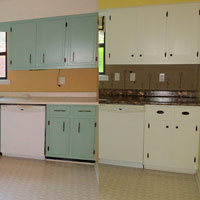 Shaker Kitchen Cabinet Update - before and after - The DIY Girl