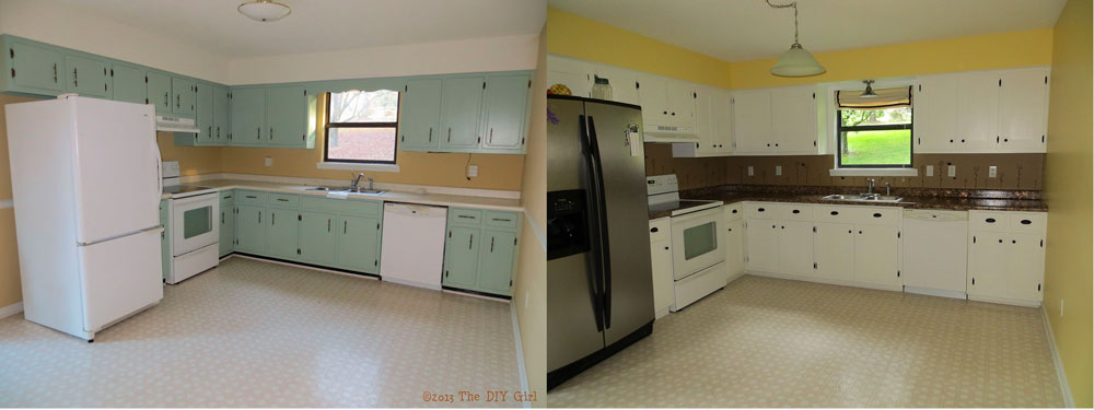 Diy Painted Kitchen Cabinets Before And After shaker kitchen cabinet update - before and after - the diy girl