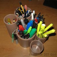 PVC pipe desk organizers - TheDIYGirl.com