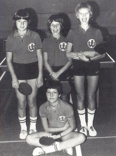 Die Württemb.-Mannschaftsmeister der Schülerinnen 1979 v.l.n.r: Rita Beutenmüller, Elke Panger, Gudrun Fischer und Isa Großmann