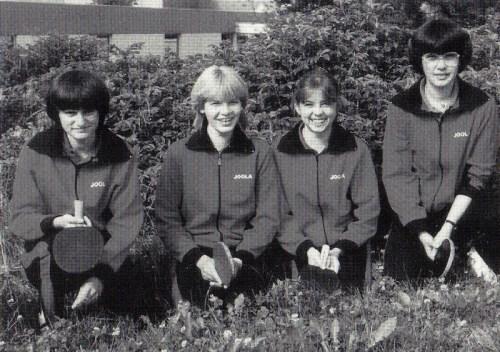 Der Württemb.- und Süddeutsche Mannschaftsmeister 1982 v.l.n.r.: Irmgard Knayer, Isa Großmann, Heike Schmidt und Gudrun Fischer