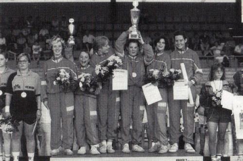 Der Deutsche Mannschaftsmeister der Mädchen 1992 v.l.n.r.: Sonja Lipp, Agnes Herzberg, Katrin Mayser, Iris Fischer, Karin Pilz und Dorit Eckhardt