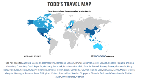 Todd's Travel Map - where I've been