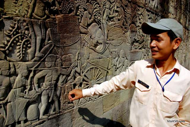 our guide explains how the bas-relief is showing Khmer soldiers going to war