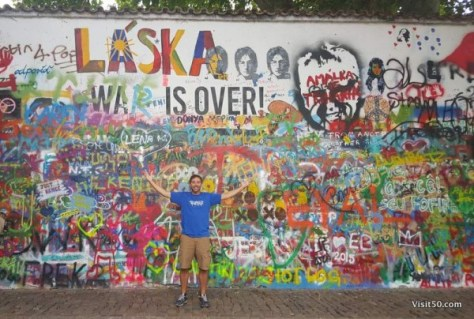 Lennon Wall in Prague - Laska means love. This was originally a white wall that said Wall is over.