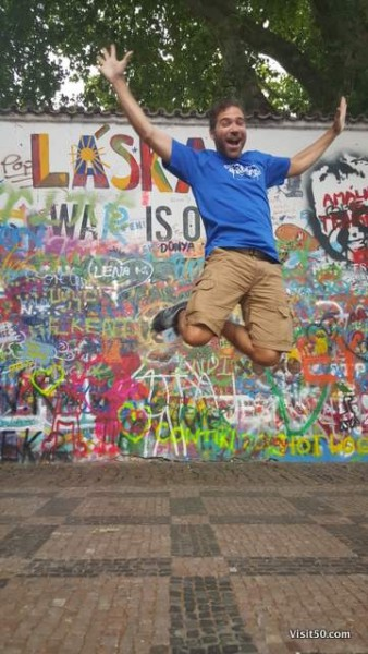 Jumping for Peace at the Lennon Wall in Prague
