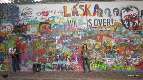 Eve at the Lennon Wall in Prague