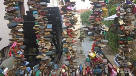 Locks of love near the Lennon Wall in Prague