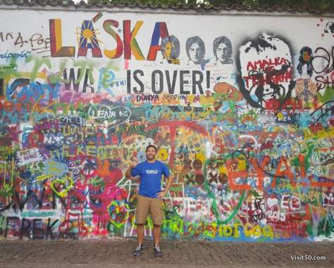 Message of Peace at the Lennon Wall in Prague