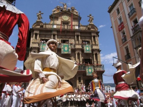 Dancers in Pamplona at the festival of the feasts. (credit)