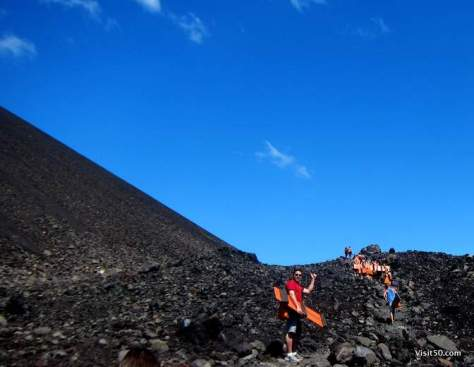 there's no ski lift - we're about to hike this active volcano in Nicaragua