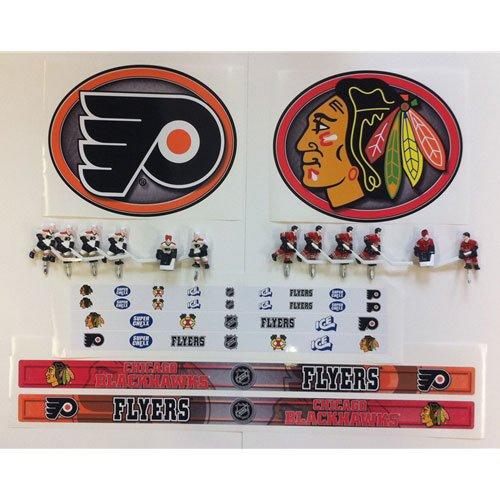 Philadelphia Flyers and Chicago Blackhawks bubble hockey stickers.