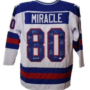 1980 USA Miracle On Ice Olympic Hockey Signed White XL Jersey 15 Sigs 13662 - JSA Certified