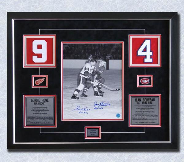 the latest 30075 5d9f4 Gordie Howe vs Jean Beliveau Dual Signed Hockey Jersey Number 22x28 Frame  #/10