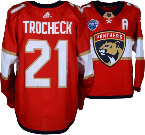 outlet store 8bb70 e4360 Vincent Trocheck Florida Panthers Game-Used #21 Red Jersey from the 2018  NHL Global Series Game vs. Winnipeg Jets on November 1, 2018 - Size 54 - ...
