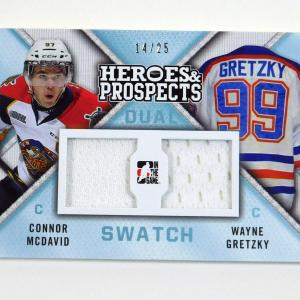 2014-15 ITG Heroes and Prospects Wayne Gretzky Connor McDavid Dual Jersey /25