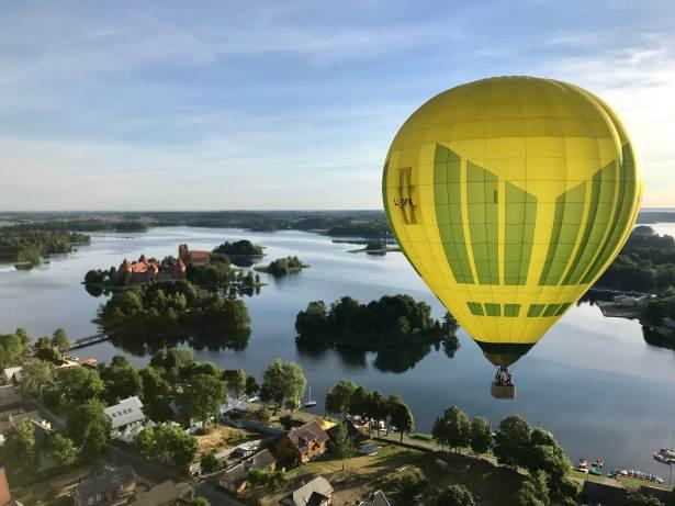 Hot Air Balloon flying over Vilnius Lithuania