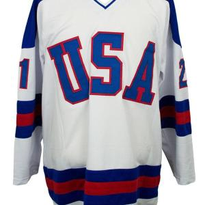 Mike Eruzione Signed USA Miracle On Ice Custom White Hockey Jersey ITP - JSA Certified