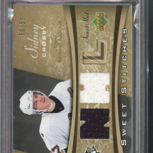 2006 Upper Deck Sweet Shot Sidney Crosby Stitches Game-Used Jersey Card PSA 7